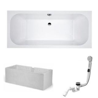 HOESCH Badewanne ELEGANCE | Design Badewanne | mit Mittelablauf | Acryl | 170x75cm | Komplettpaket mit Styroporträger und Ablaufgarnitur