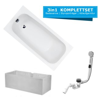 HOESCH Badewanne RIVIERA | Design Badewanne | Acryl | 170x75cm | KOMPLETTPAKET mit Styroporträger und Ablaufgarnitur