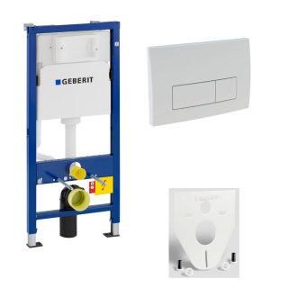 GEBERIT WC-Element Duofix Basic für Wand-WC 112cm 458103001 inkl. Betätigung 2-Mengen DELTA51