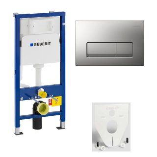 GEBERIT WC-Element Duofix Basic für Wand-WC 112cm 458103001 inkl. Betätigung 2-Mengen DELTA51 mattchrom