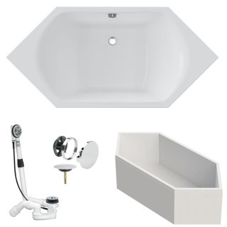 VITRA Badewanne M100 Acryl Sechseck-Einbauwanne 1900x900x470 mm