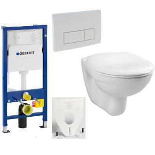 GEBERIT Duofix Vorwandelement Basic + Wand Tiefspül WC LIFE COMPACT 48cm + WC-Sitz + Betätigungsplatte DELTA51