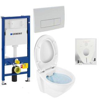 GEBERIT Duofix Vorwandelement Basic + Wand Tiefspül WC LIFE SPÜLRANDLOS + WC-Sitz + Betätigungsplatte DELTA51