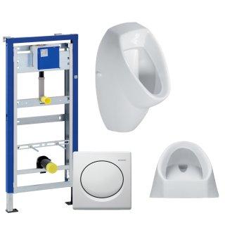 GEBERIT Duofix Vorwandelement Basic 130cm + Urinal EURO LIFE + Betätigungsplatte HYBASIC pneumatisch