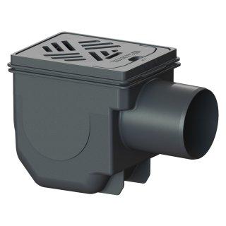KESSEL Kellerablauf Drehfix, Kunststoff schwarz DN 100, mit 2fach Rückstau,Rost 150x190 mm 27301