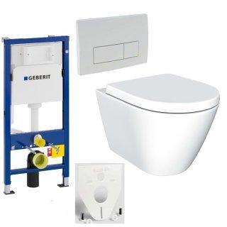 GEBERIT Duofix Vorwandelement Basic + Wand Tiefspül WC MODERN LIFE SPÜLRANDLOS + WC-Sitz + Betätigungsplatte DELTA51