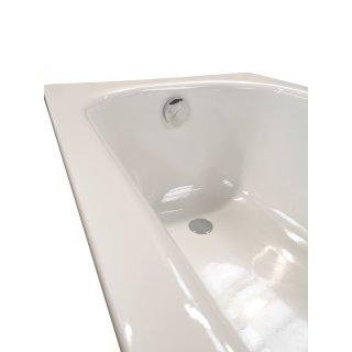 Badewanne Stahl KOMPLETT SET 160 x 70cm + Styropor Wannenträger + Ablaufgarnitur weiß